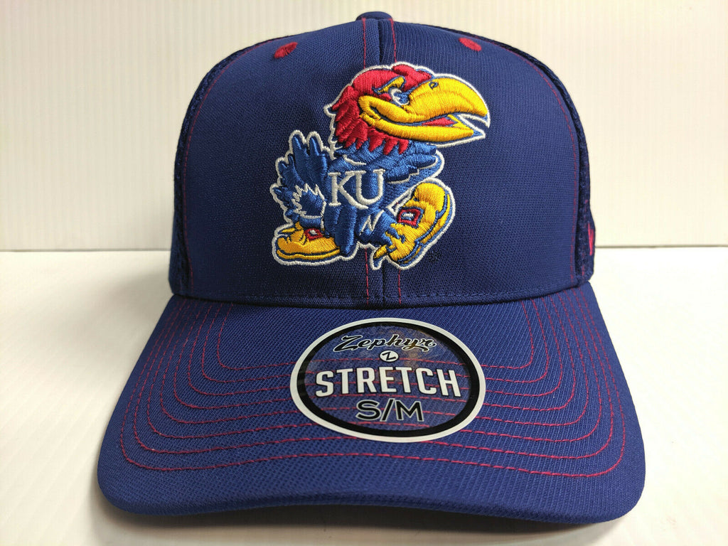 Kansas Jayhawks Cap Zephyr Blue Pregame 2 Mesh Stretch Fit Fitted Hat