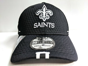 New Orleans Saints Cap New Era 39Thirty Stretch Fit Hat Black 2019 Training Camp