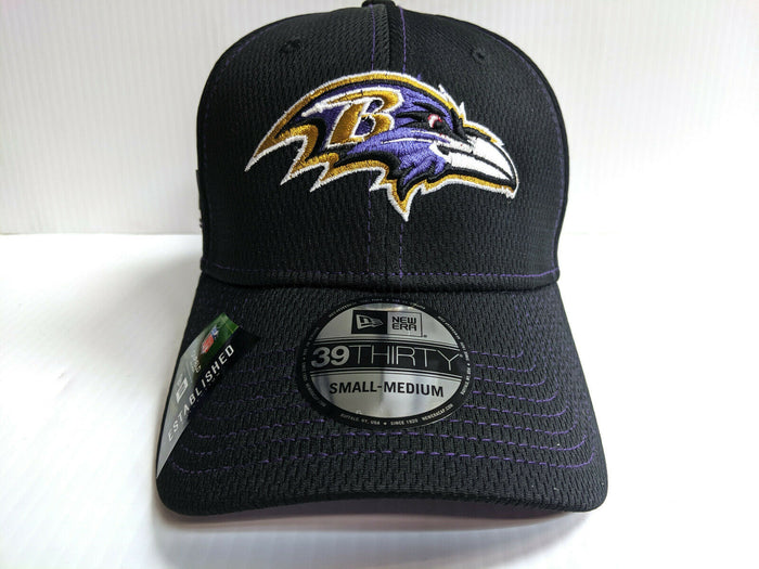 Baltimore Ravens Cap New Era 39Thirty Stretch Fit Black 2019 Road Sideline Hat