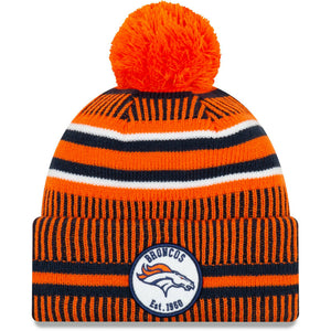 Denver Broncos Knit Hat New Era 2019 Sport On Field Sideline Home Cap NFL