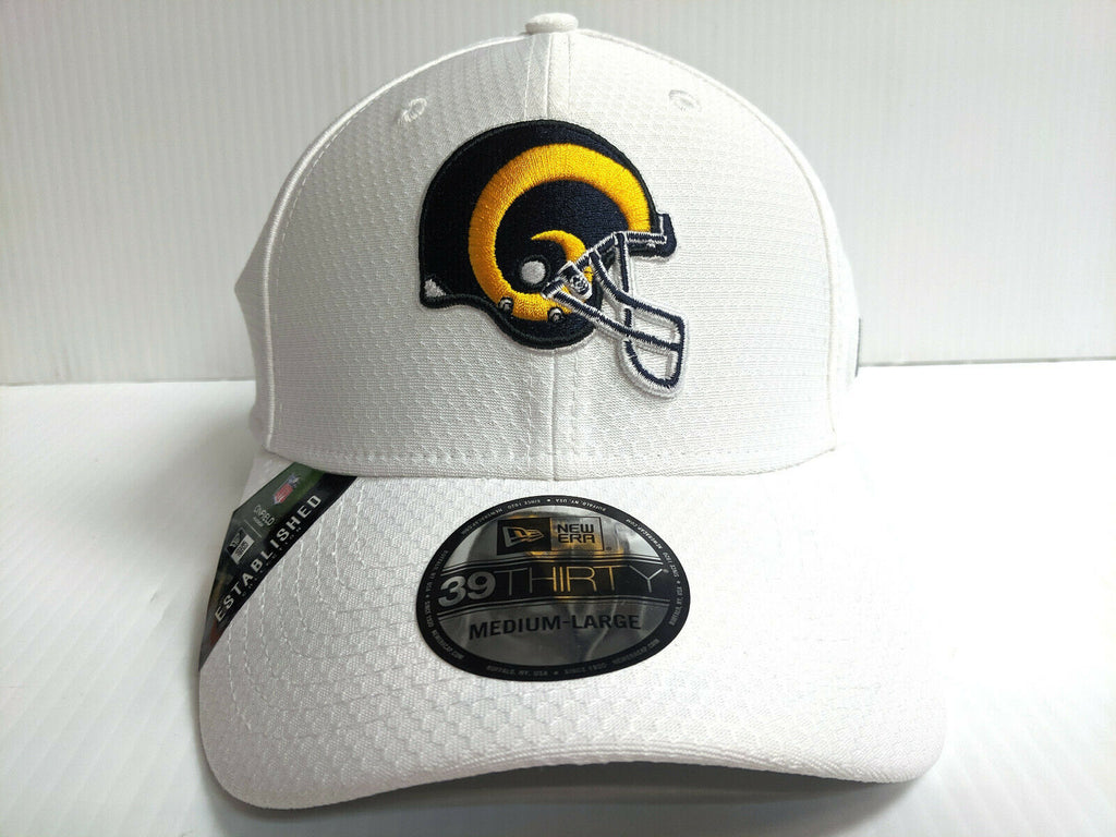 Los Angeles Rams Cap New Era 39Thirty Stretch Fit 2019 Helmet White Platinum Hat