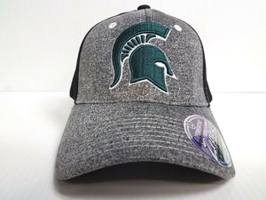 Michigan State Spartans Cap Zephyr Stretch Fit Fitted Graphite Mesh Hat NCAA