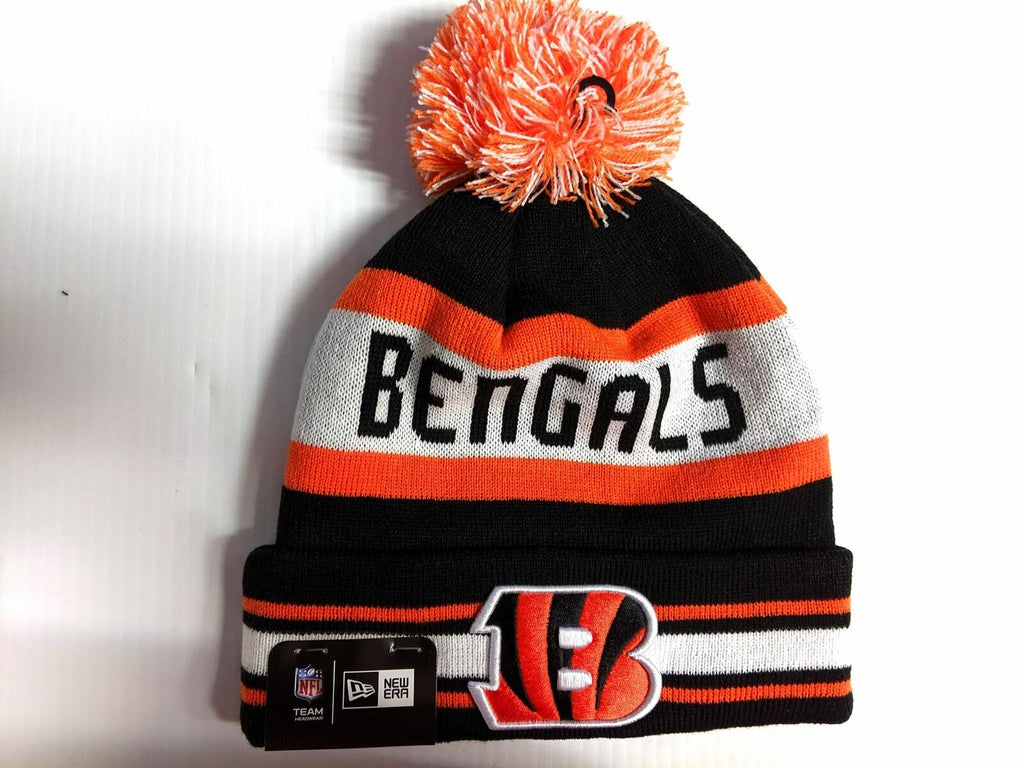 Cincinnati Bengals Knit Hat New Era The Jake Cuff Pom Beanie Stocking Cap NFL
