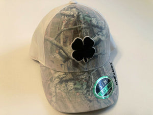Black Clover Cap Fitted Hunt White Stretch Fit Golf Hat Live Lucky