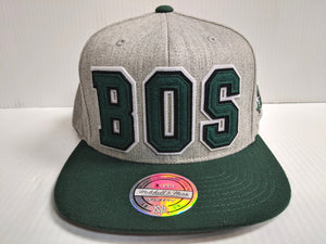 Boston Celtics Cap Mitchell & Ness Snapback Gray Heathered Hat NBA