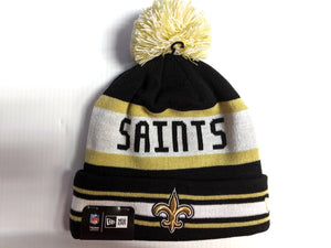 New Orleans Saints Knit Hat New Era The Jake Cuff Pom Beanie Stocking Cap NFL