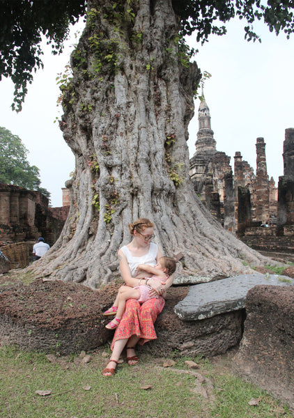 Toddler in sukhothai historic park