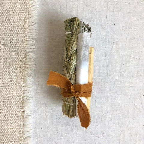 Sweet Grass + Selenite Smudge Stick