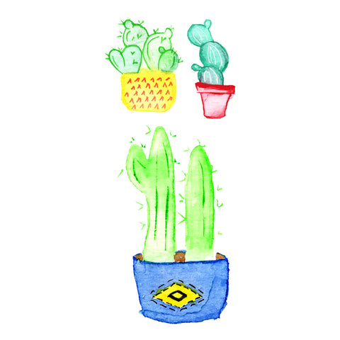 Lovewild Design Watercolor Temporary Tattoo Cactus