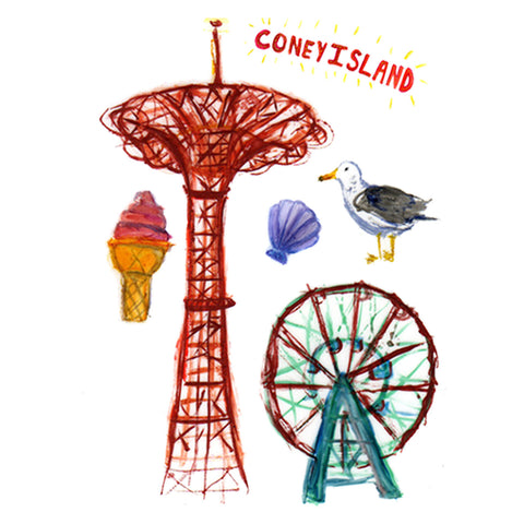 Lovewild Design Watercolor Temporary Tattoo Coney Island