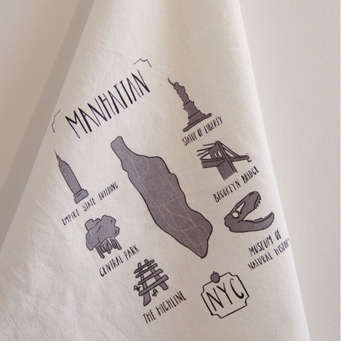 Lovewild Design NYC Manhattan Map Kitchen Towel