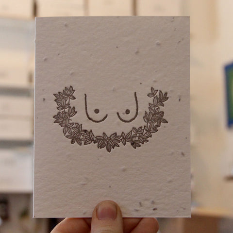 Boob Card Lovewild Design Plantable Letterpress Stationery