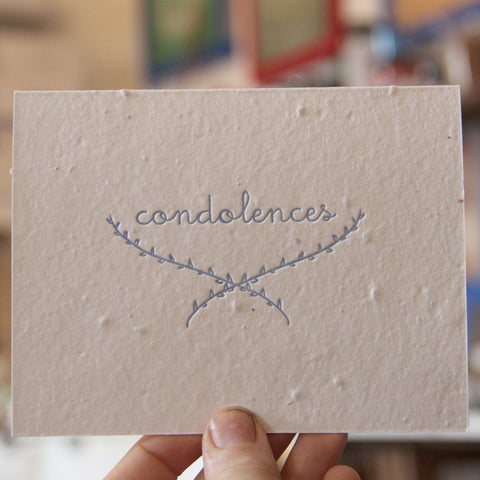 Lovewild Design Plantable Letterpress Condolences Card