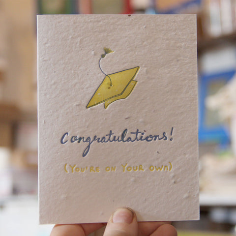 Lovewild Design Plantable Letterpress Congratulations Grad Card