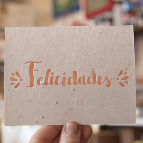 Lovewild Design Plantable Letterpress Felicidades Card