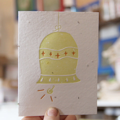 Lovewild Design Plantable Letterpress Holiday Bell Card