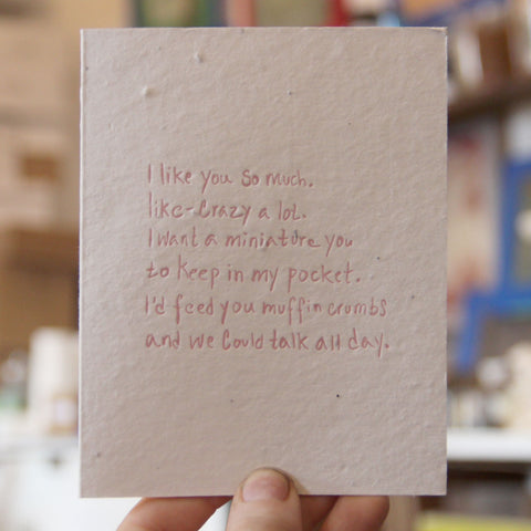 Lovewild Design Plantable Letterpress I Like You Card