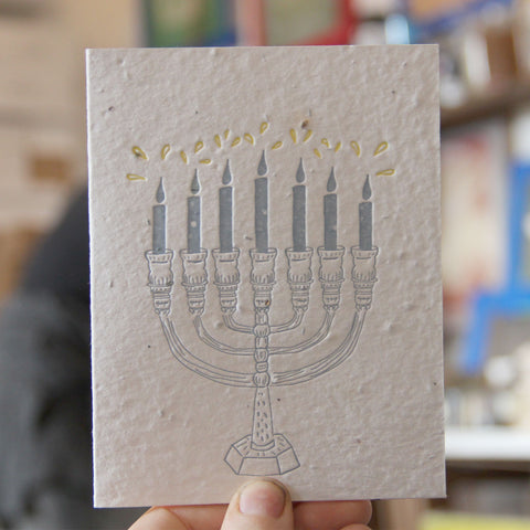 Lovewild Design Plantable Letterpress Menorah Card