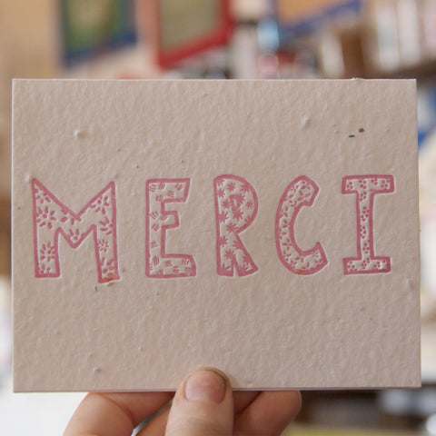 Lovewild Design Plantable Letterpress Merci Card