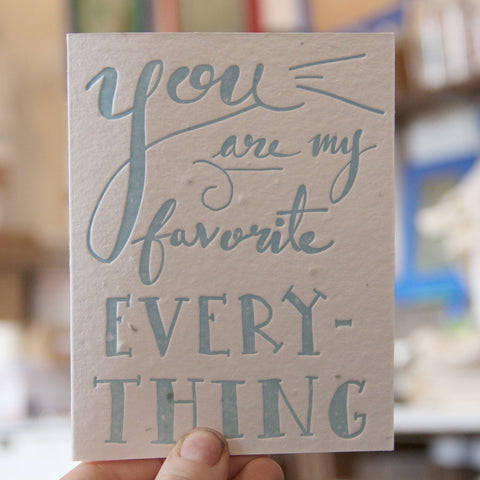 Lovewild Design Plantable Letterpress My Everything Card