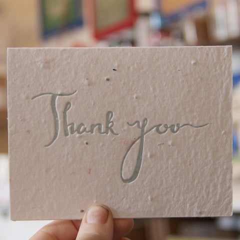Lovewild Design Plantable Letterpress Thank You Script Card
