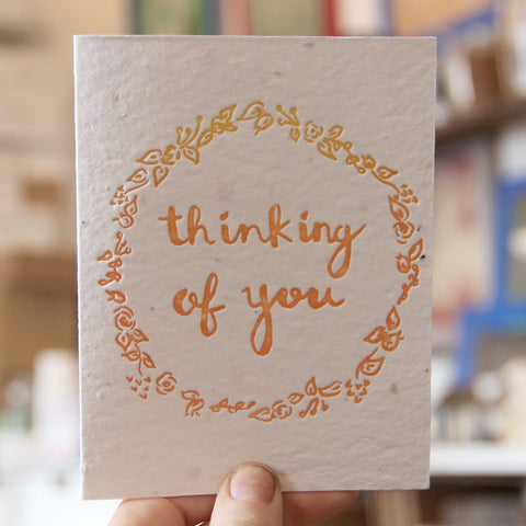 Lovewild Design Plantable Letterpress Thinking Of You Card