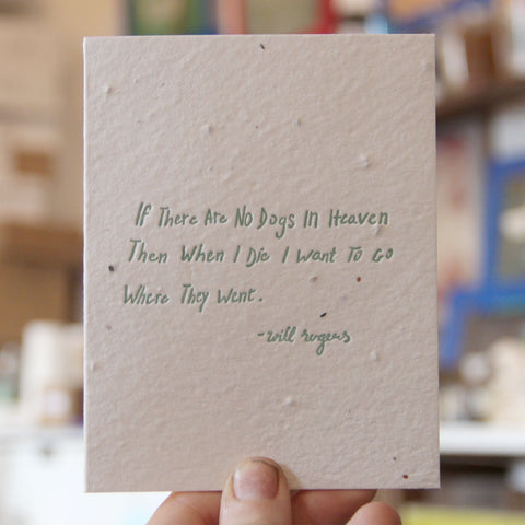 Lovewild Design Plantable Letterpress Will Rogers Card