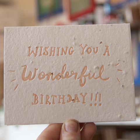 Lovewild Design Plantable Letterpress Birthday Card
