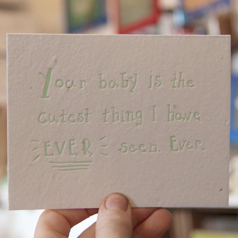 Lovewild Design Plantable Letterpress Cutest Baby Card
