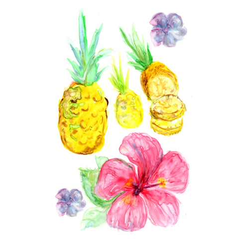 Lovewild Design Watercolor Temporary Tattoo Tropical Pineapple