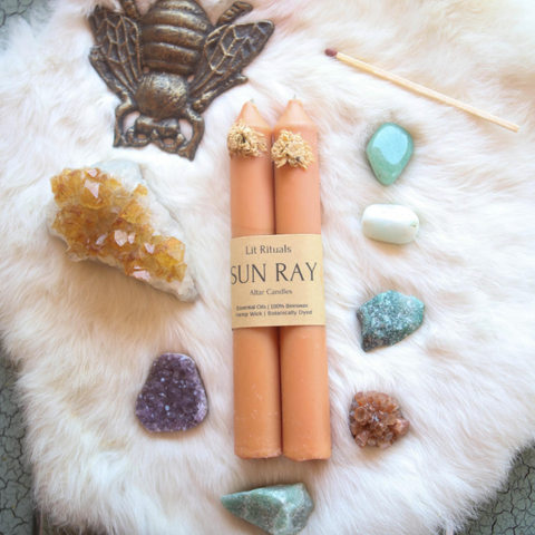 Large Sun Ray Beeswax Altar Candle