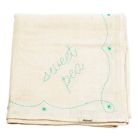 Sweet Pea Green Embroidered Swaddle