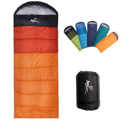 Camping Sleeping Bag, Waterproof Envelope Lightweight Portable Sleeping Bags Great For 4 Season Traveling, Camping, Hiking, Backpacking and Outdoor Activities For Adults, Kids, Girls and Boys Orange Ombre-Right Zipper