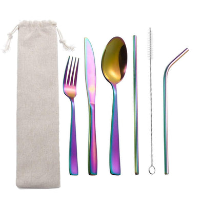 Reusable Silverware Set to Go with Case,MEJAJU Portable Utensils Travel Camping Cutlery Set for Picnic Office or School Lunch,7 Piece Stainless Steel Flatware,Dishwasher Safe Rainbow 7-Piece Rainbow