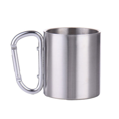 TargetEvo 7.5oz Small Stainless Steel Carabiner Mug Cup With Carabiner Hook For Outdoor Camping Hiking 7.5 oz