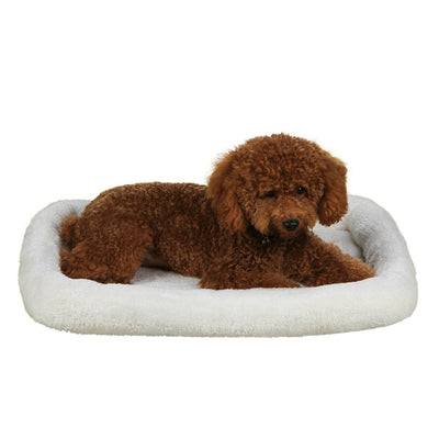QIAOQI Dog Bed Padded Bolster, Breathable Cats Pets Cushion Beds Mats 20-inch Cream
