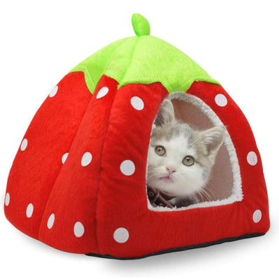 Cute Soft Sponge Strawberry Pet Cat Dog House Bed Warm Cushion Basket Size:S ( 10.2 x 10.2 x 11 inches )  by akezone small 10 inch Red