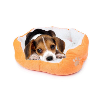 Resulzon Cute Paw Print Comfortable Pets Dog Cats Puppy Kitten Nest Mat Pad Soft Fleece Bed Orange