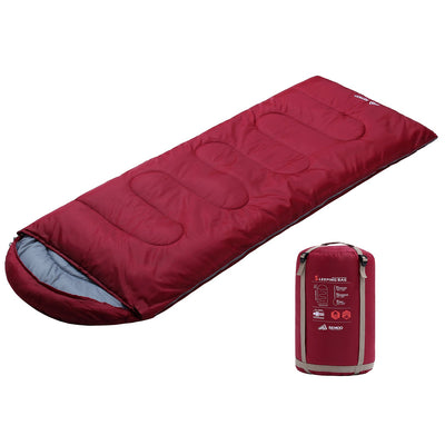 SEMOO Sleeping Bag Lightweight Portable Waterproof with Compression Sack Great for Adults & Kids Camping Backpacking Hiking wine red 4 Season(87x33 Inches)