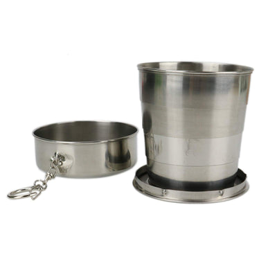 Timoo Folding Camping Cup Stainless Steel Collapsible Cup Lid Keychain Travel, 240 ml