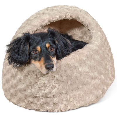 Furhaven Pet Cat Bed | Hooded Tent House Dome Cave Pet Bed for Cats & Small Dogs - Available in Multiple Colors & Styles Cream