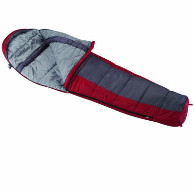 Wenzel Windy Pass 0-Degree Mummy Sleeping Bag 33 x 84-Inch Red/Grey