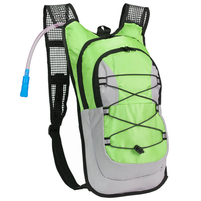 North West Survival Equipped Outdoors Hydration Pack - 2 Liter Water Bladder with Extra Large Storage Compartment Backpack Green