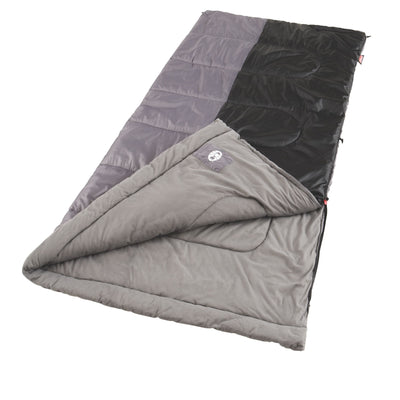 "Coleman Biscayne Big and Tall Warm-Weather Sleeping Bag 39"" x 81"" Black/Gray"