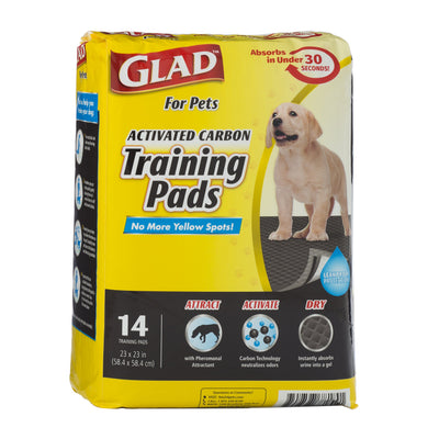 Glad for Pets Activated Charcoal Puppy Pads | Black Training Pads That ABSORB & Neutralize Urine Instantly, New & Improved Quality 14 Count Regular
