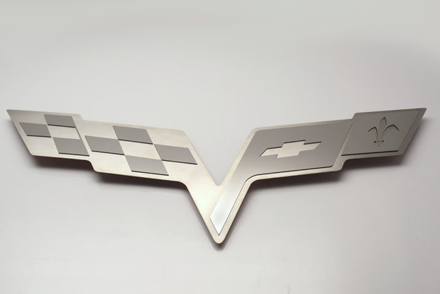 043113 C6 Corvette Cross Flags Hood Liner Logo