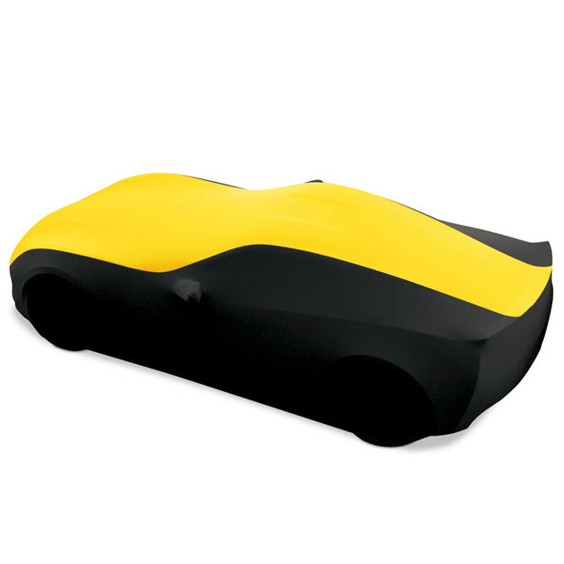 27176422 c7 corvette yellow and black stretch satin car cover