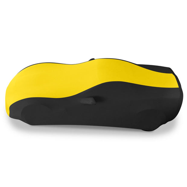 37176422 c6 corvette yellow and black stretch satin car cover