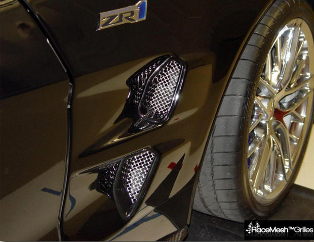 C6 Corvette ZR1 front fender grilles and screens