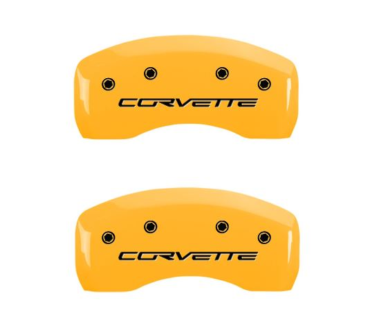C6 Corvette caliper cover - yellow - rear